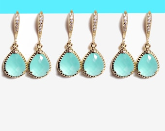 Set of 1-4 Pairs, Mint, Glass, Cubic, Hooks, Gold, Earrings, Sets, edding, Bridal, Bridesmaids, Gift, Jewelry