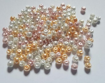Barely pink pearl mix, Glass pearl mix, Glass pearl beads, Bead mix, Bead soup, Glass pearls, Glass beads, Pearl beads, Jewellery making