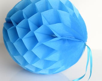 Fiesta blue Tissue paper honeycomb ball-hanging wedding party decorations-paper lantern-birthday decor-round paper ball-nursery -royal blue
