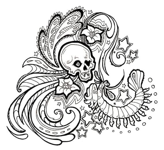 No.199 die Gottesanbeterin und der Schädel / täglich Doodle /
