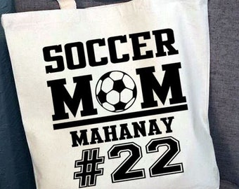 Personalized Tote Bag, Personalized Soccer Mom Tote Bag, Custom Sports Tote Bag