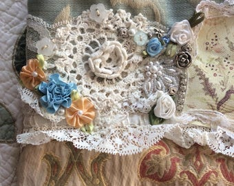 Cute Romantic Bag, soft yellow blue hues, shabby cottage coin purse, beads buttons lace embellished, small make up bag, S4