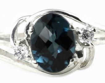 London Blue Topaz, 925 Sterling Silver Ring, SR176