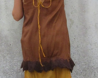 Women's Dress ~ Woodland clothing ~ Festival Tunic ~ Summer smock dress ~ Natural ~ Earthy clothing ~ Double layer ~ Nuno felted edge