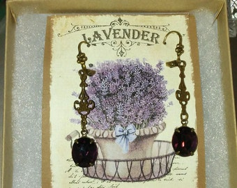 Crystal Amethyst drops on Floral brass stampings on Floral leverback earrings
