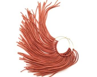 Copper Fringe Hoops