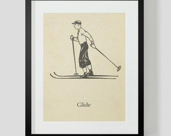 Skiing Skier Print Glide