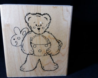 Beary Sunny Summer Rubber Stamp - Used - Teddy Bear with water ring