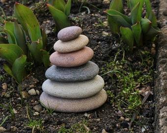 Zen Garden Sculpture - Rock Cairn - Beach Stone Stack - Meditation Altar - Mindfulness - Balance