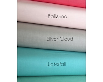Cotton Fabric Set - Riley Blake Solids - Green Fabric , Coral Pink Fabric , Aqua Fabric , Taupe Fabric