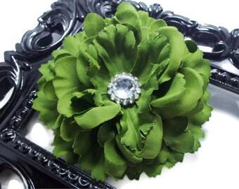 Hair clip, artichoke green hair accessories hair flower in artichoke green with rhinestone center