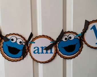 Cookie Monster Banner, Cookie Monster, Cookie Monster Birthday, Smash Cake, Cookie Monster Birthday Party
