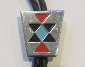 Vintage Southwestern Black Red Blue Shapes Hickok  Bolo Tie IC Lot 16