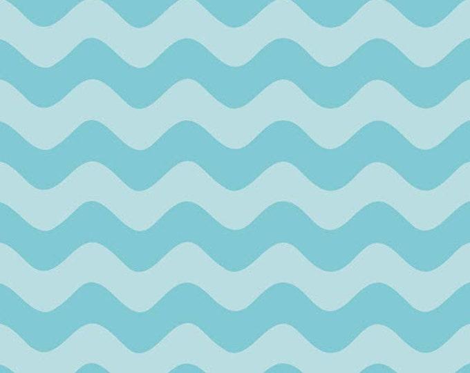 Half Yard Wave - Waves Tone on Tone in Aqua Blue - Cotton Quilt Fabric - RBD Designers for Riley Blake Designs - C425-20 (W3295)