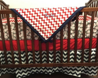 DEAL of THE DAY***Baseball and Chevron (Navy blue & red) Crib bedding made to order (sale on full sets only)