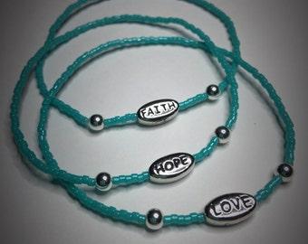 Faith Hope Love bracelet set. Beaded bracelets. Set of 3 bracelets. Faith Hope Love, gift for her, charm bracelets, Christian bracelet