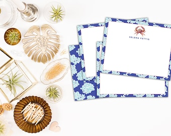 Coastal Stationery, Coastal Stationary // Personalized Note Cards // Preppy Stationery // Crab Note Cards // Personalized Stationery