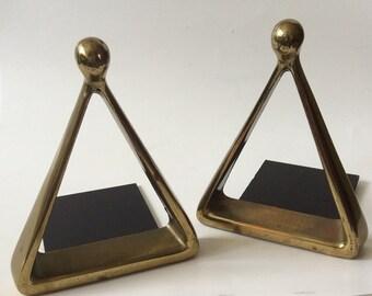 Ben Seibel MidCentury Modern Brass Triangle or Stirrup Bookends for Jenfredware
