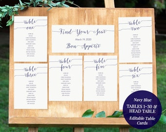 Printable Navy Blue Seating Chart Kit - Instant Download - Editable PDF - Wedding Table Assignments - Set of 30 - 5x7 inches - #GD0910