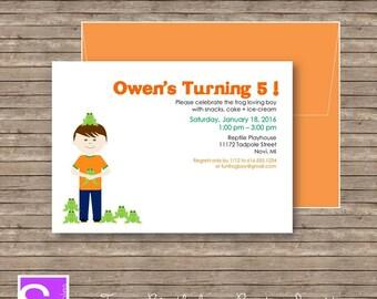 Frog Birthday Invitations - Printable - Birthday Invitations - Custom Boy