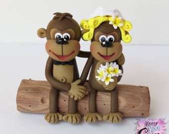 Monkey Bride And Groom Wedding Cake Topper (Polymer Clay Sculpture)