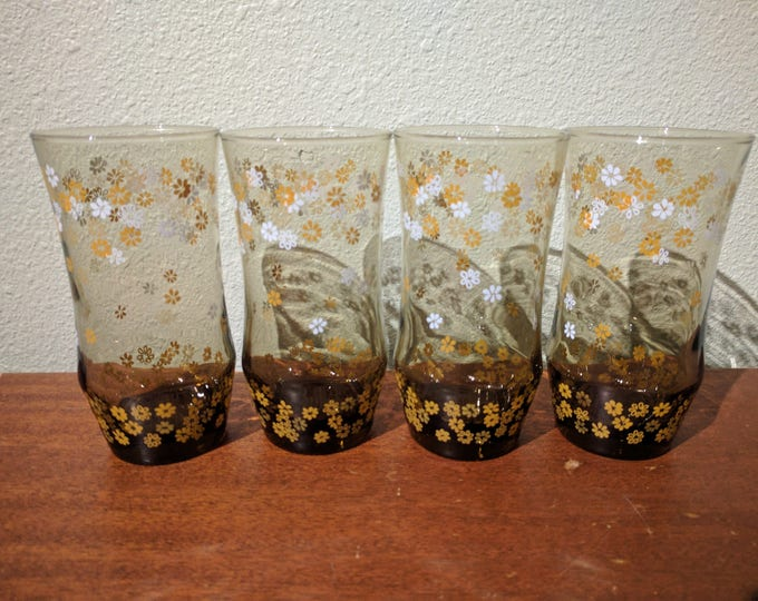 Vintage Libbey-Rock Sharpe tumbler set of 4 -  Amber w/ white and yellow flowers - 16 oz -  set of 4 - daisies