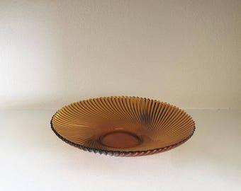 Vintage Amber Glass Bowl - Vintage French Swirl Pattern Bowl - Amber Glass Bowl - Shallow Bowl - Decorative Bowl - Home Decor Bowl - Glass