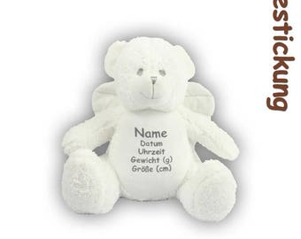Fluffy teddy bear angel with emboidery, embroidered with name, date, weight and size