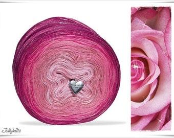 Gradient Yarn Merino Sparkling Pink with Glitterthread 750m