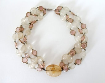 White, Pink, Amber and Gold 3 Strand Choker Necklace
