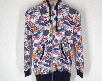 Vintage Couleur Full Print Nice Design Hoodie Sweatshirt Size L