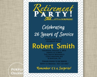 Surprise Retirement Party Invitation Chevron Navy Blue Gold Masculine Invitation Adult Party Printable Invite 5x7 Digital JPG File 7a