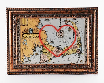 Cape Cod Hand Embroidered Heart Map, Cape Cod Map, Engagement Gift, Paper, Cotton Anniversary, Wedding, Travel, Massachusetts, Valentine's