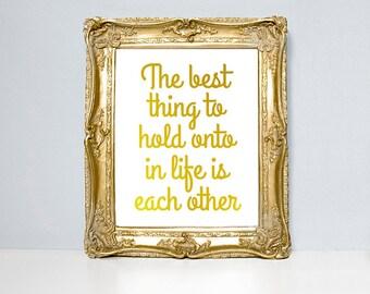 Audrey Hepburn-Zitat, Blattgold, Blattsilber, Liebe notieren, Typografie Druck, Zitat, metallische Zitat, gold Wandkunst, gold Wohnkultur, Folien