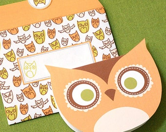 OWL Printable Card Envelope Digital Instant Download Bird Animal Invitation Party Children Kid Zoo Stationery Hoot Notecard Letter Greeting