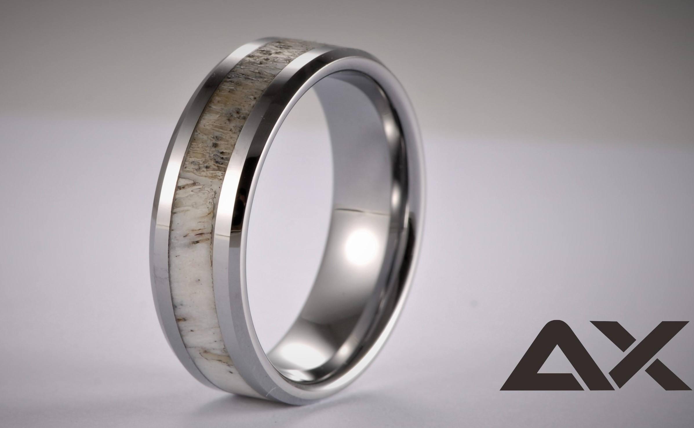 Antler Ring Tungsten Carbide Antler Ring Mens Ring Womens Ring
