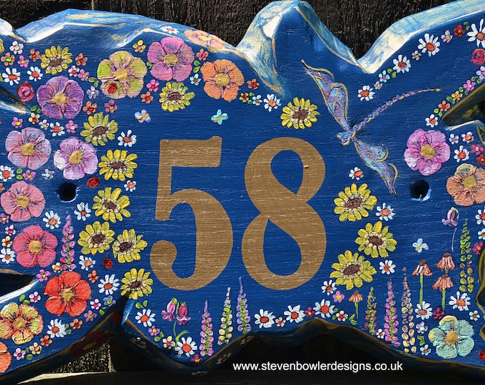 FREE UK SHIPPING Rustic Country Cottage House Number Sign Indigo Blue Hand Painted Dragonfly & Country Cottage Flower Design Made to Order