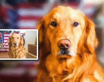 Custom Pet Portrait, Custom Painting, Golden Retriever, Dog painting, Dog Portrait, Pet painting, Golden Retriever portrait - Downloadable