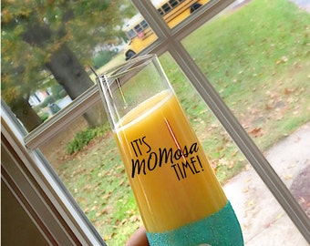 Mimosa - It's MOMosa Time - Gift for her - Mommy Wine Glass  - Mimosa Glass - Mornings are for Mimosas - Stemless Champagne Flute - New Mom