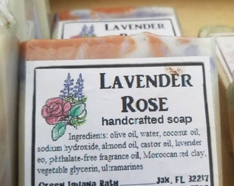 Lavender rose vegan handcrafted soap with red clay