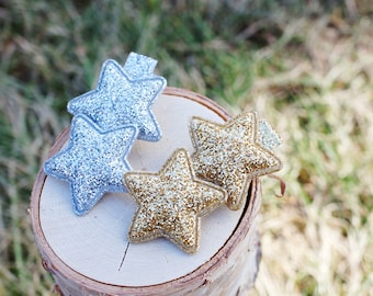 Glitter Star on Alligator Hair Clip - Choose your color - Gold, Silver - girls bow - girls hair clip - star hair clip