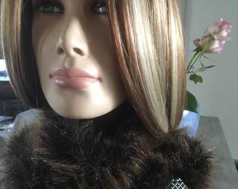 fur snood - handknitted - marroon/black