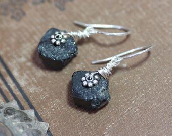 Black Tourmaline Earrings Rough Raw Gemstone Black Earrings Tourmaline Crystal Sterling Silver Rustic Jewelry