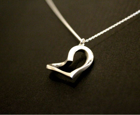 Heart necklace , Love jewelry, contemporary heart necklace, friendship, family love, sterling silver hand carved mothers day gift
