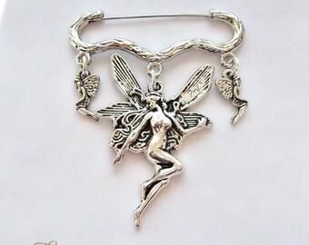 Fairy Brooch, Woodland Nymph Brooch, Kilt Pin Brooch, Pagan Brooch, Fairy Jewellery, Wiccan, Wicca, Folk, Myth, Magic, Sprite, Elf,Pixie,Fae