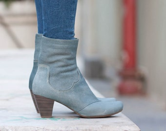 Blue Leather Boots, Ankle Boots, Leather Booties, Brown Boots, Winter Shoes, Blue Shoes , Free Shipping