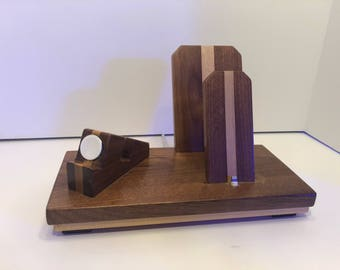 Walnut and Maple Iphone, Iwatch, And Ipad charging station dock