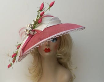 """SALE """"Clarise"""" Pink and white hat with flowers and feathers (reg 300)"""