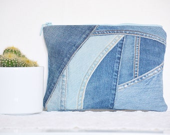 Denim clutch - upcycled/ cosmetic toiletry / essential things