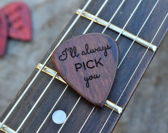 Personalized Guitar Pick, Solid Hardwood, Engraved, Father's Day, Music Lover's Gift